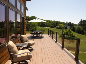 Enjoy the fresh air and scenery on the deck