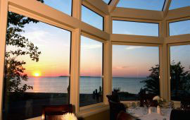 A view of the sunset over Lake Michigan from the dining room at Blu.