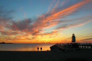 The pier lighthouse in Charlevoix at sunset (Photo: Deb Nystrom)