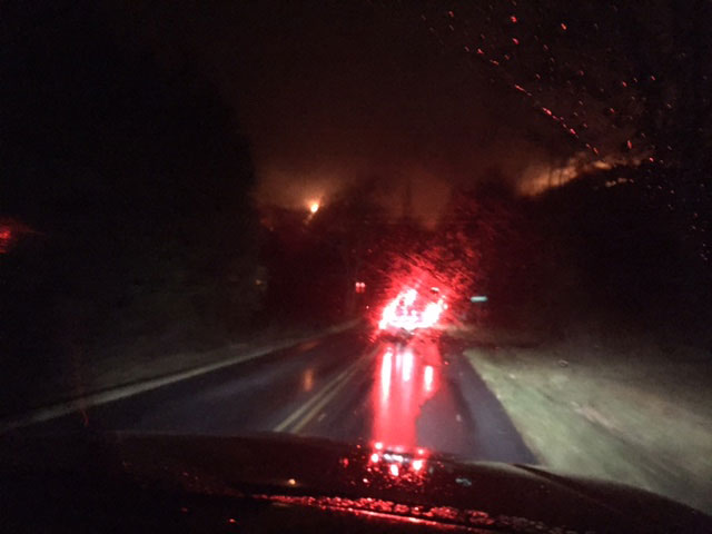 A burning tree fallen across the road during the Gatlinburg fire