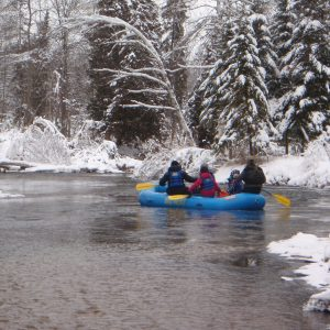 winter river rafting on the sturgeon river