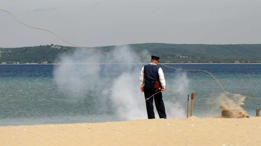 A demonstration of the Lyle Gun firing its rope-attached projectile (National Park Service/CC BY 2.0)