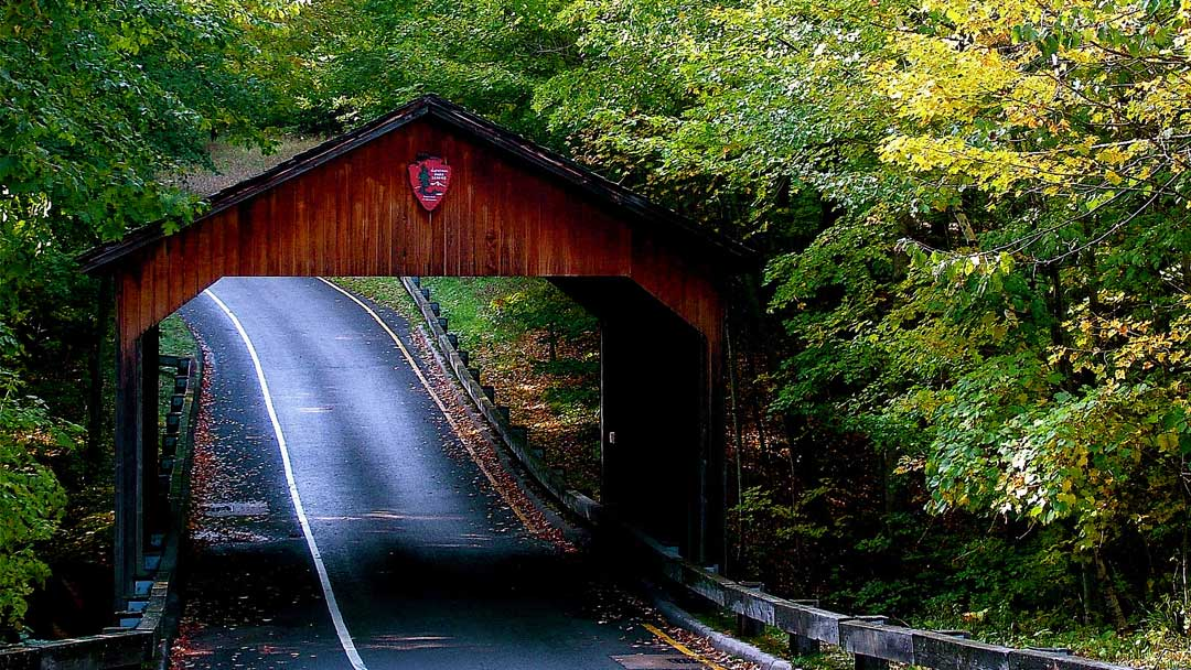 A covered bridge along the Pierce Stocking Scenic Drive (National Park Service/CC BY 2.0)