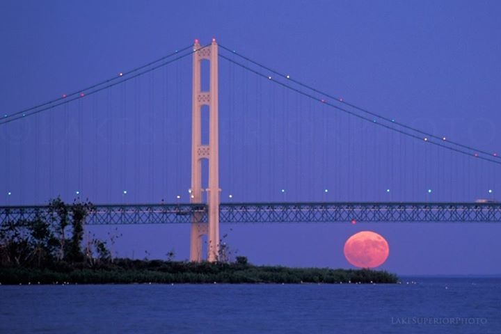 Sunset/Moon Rise in the Straits of Mackinac