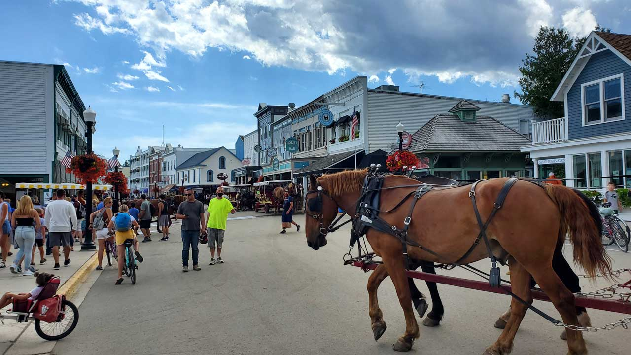 Downtown Mackinac Island, horse carriage