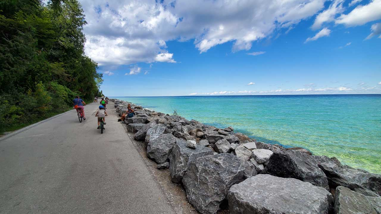 biking around Mackinac Island