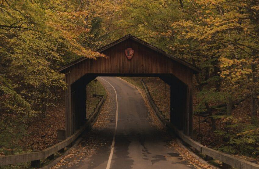 Covered bridge on Pierce Stocking Drive